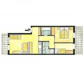 <b>piantina appartamento in affitto</b> trilocale 4 posti letto con 2 bagni